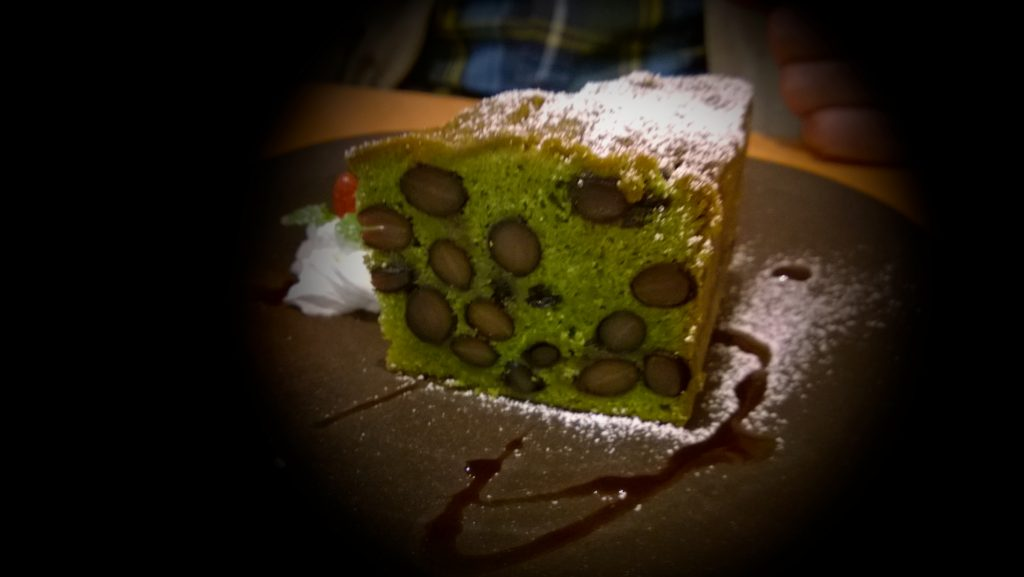 Macha cake with sweet black beans