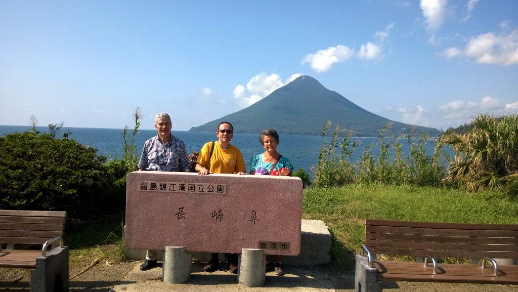 Photo shooting at Cape Nagasakibana, with view on Mount Kaimondake